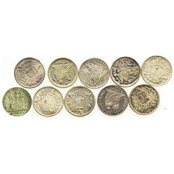 Lot of 10 Guatemala 1R: 1889, 1890, 1894, 1897, 1899 no fineness, 1899 fineness 0.600, 1899 fineness