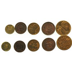 Lot of 5 copper and aluminum-bronze provisional coinage (full denomination set): 5 pesos 1923; 1 pes