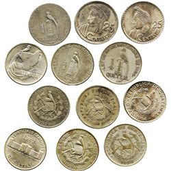 Lot of 6 Guatemala 25 centavos: 1925 (2), 1926, 1943, 1958 and 1964.