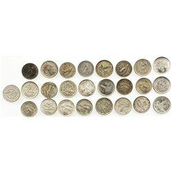 Large lot of 25 Guatemala 10 centavos: 1925, 1929 (2), 1932, 1933 (2), 1934, 1945 (3), 1947 (2), 194