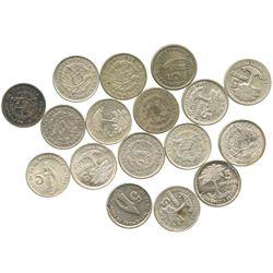 Large lot of 17 Guatemala 5 centavos: 1929, 1943, 1944 (2), 1945, 1949, 1950 (2), 1953, 1956, 1957,