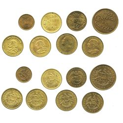 Lot of 8 Guatemalan brass minors: 2c 1932; 1c 1944, 1947, 1949, 1950, 1954 and 1958; and 1/2c 1932.