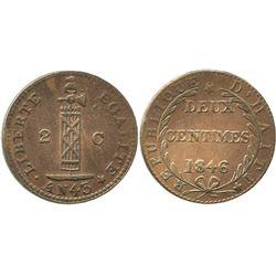 Haiti, copper 2 centimes, 1846 // AN43, local issue.