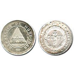 Honduras, 5 centavos, 1896, encapsulated ANACS MS 63.