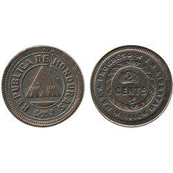Honduras, bronze 2 centavos, 1908/7, rare.