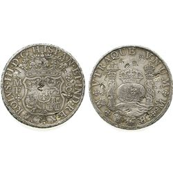 Mexico City, Mexico, pillar 8 reales, Charles III, 1768MF, with chopmarks as from circulation in the