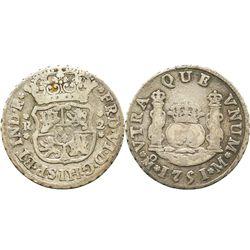 Mexico City, Mexico, pillar 2 reales, Ferdinand VI, 1751M.