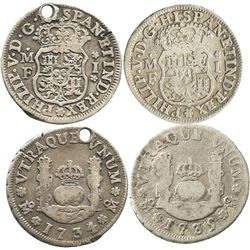 Lot of 2 Mexico City, Mexico, pillar 1R of Philip V: 1734MF and 1735MF.