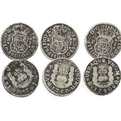 Lot of 3 Mexico City, Mexico, pillar 1R of Philip V and Ferdinand VI: 1740M, 1747M and 1750M.