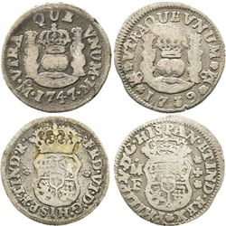 Lot of 2 Mexico City, Mexico, pillar 1/2R: Philip V, 1739MF; and Ferdinand VI, 1747M.