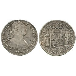 Mexico City, Mexico, bust 8 reales, Charles IV, 1804TH, with chopmarks as from circulation in the Or
