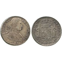 Mexico City, Mexico, bust 8 reales, Ferdinand VII (transitional bust), 1811HJ.