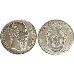 Mexico City, Mexico, 50 centavos, 1866, Maximilian.