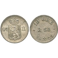 Norway, 10 ore / 3 skilling, Oscar II, 1875, rare date.