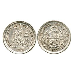 Lima, Peru, 1/2 real, 1860YB.