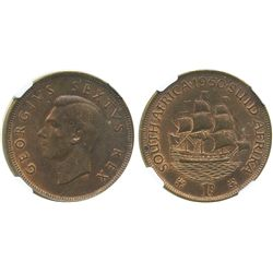 South Africa, copper penny, George VI, 1950, encapsulated NGC MS 64 BN.
