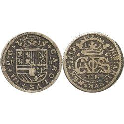 "Barcelona, Spain, milled 2 reales ""pistareen,"" Charles III Pretender, 1712."