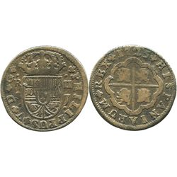"Seville, Spain, milled 2 reales ""pistareen,"" Philip V, 1725J."