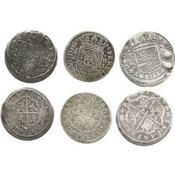 "Lot of 3 Madrid, Spain, milled 2 reales ""pistareens"" of Philip V and Ferdinand VI: 1716J, 1724A and"