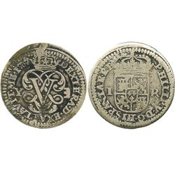 "Segovia, Spain, milled 1 real ""half pistareen,"" Philip V, 1707Y, small 0 in date."