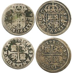 "Lot of 2 Spanish milled 1/2 real ""quarter pistareens"" of Philip V: Cuenca, 1719JJ; Madrid, 1731JF."