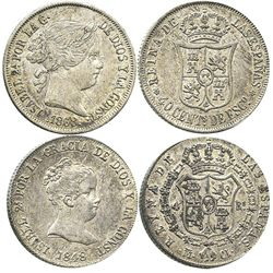 Lot of 2 Madrid, Spain, 2R-sized minors of Isabel II: 4R 1848CL and 40c 1868.