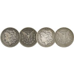 Lot of 2 USA (New Orleans mint) $1 Morgan, 1889-O and 1897-O.