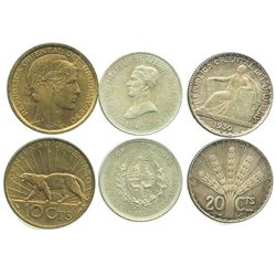 Lot of Uruguay minors: 20 centesimos 1920 and 1930; aluminum-bronze 10 centesimos 1930.