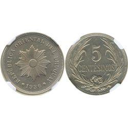 Uruguay (struck in Paris), copper-nickel 5 centesimos, 1936-A, encapsulated NGC MS 63.