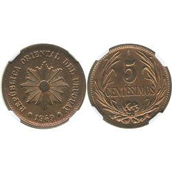Uruguay (struck in Santiago, Chile), copper 5 centesimos, 1949-So, encapsulated NGC MS 64 RB.