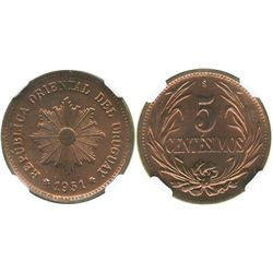 Uruguay (struck in Santiago, Chile), copper 5 centesimos, 1951-So, encapsulated NGC MS 64 RB.