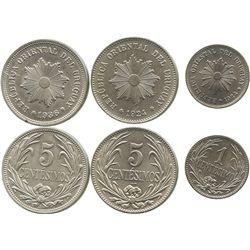 Lot of 3 Uruguay copper-nickel minors: 5 centesimos 1926 and 1934; 1 centesimo 1924.