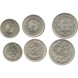 Lot of 3 Uruguay copper-nickel minors of 1936: 5, 2 and 1 centesimos.