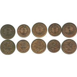 Lot of 5 Uruguay copper minors: 5 centesimos 1946, 1947 and 1949; 2 centesimos 1946 and 1949.
