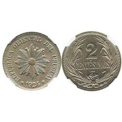 Uruguay (struck in Santiago, Chile), copper-nickel 2 centesimos, 1924-So, encapsulated NGC MS 64.