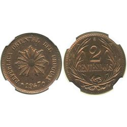 Uruguay (struck in Santiago, Chile), copper 2 centesimos, 1947-So, encapsulated NGC MS 64 RB.