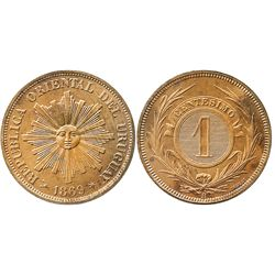 Uruguay (struck in Birmingham), copper 1 centesimo, 1869H (TASSET).