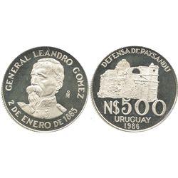 Uruguay (struck in Mexico City), Proof 500 pesos, 1986, General Gomez.