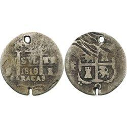 Caracas, Venezuela, 2 reales, 1819/8BS.