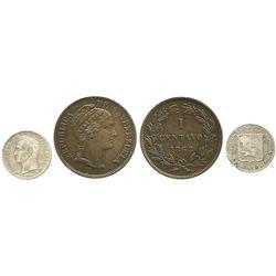 Lot of 2 Venezuelan minors: copper 1 centavo 1862; and 5 centavos 1874-A.