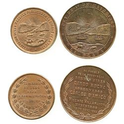 Lot of 2 La Plata, Argentina, copper medals, dated 1882 and 1884.