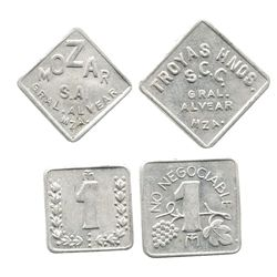 Lot of 2 Mendoza, Argentina, aluminum 1-peso winery tokens (Mozar and Troyas), mid-1900s.