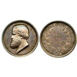 Brazil (Empire), silver medal, Pedro II, Academy of Fine Arts of Rio de Janeiro (mid-1800s), engrave