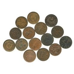 Lot of 15 Canadian copper halfpenny tokens, dated 1814-1852.