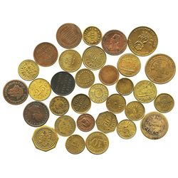 Lot of 32 Canadian copper/brass merchant tokens, mid-1800s to mid-1900s.