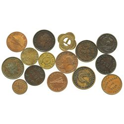 Lot of 15 Canadian Maritime Provinces copper/brass merchant tokens, dated 1840-1857.