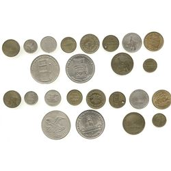 Lot of 12 Ecuador tokens (gaming, transportation, etc.) from the 1970s-1990s.