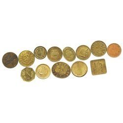 Lot of 13 German copper/brass beer tokens, mid-1800s to mid-1900s.