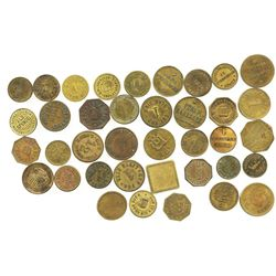 Lot of 38 German copper/brass beer tokens, mid-1800s to mid-1900s.