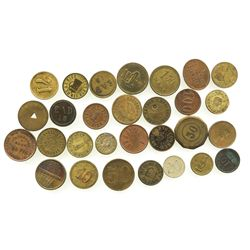 Lot of 29 German copper/brass merchant tokens, mid-1800s to mid-1900s.